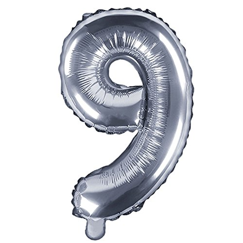 DekoHaus Folienballons Buchstaben / Zahlen Höhe 35 cm Farben: Gold oder Silber (9, Silber)