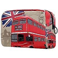 コスメティックバッグメイクアップバッグ 旅行化粧ポーチクラッチ財布トイレタリーバッグ,英国の赤いバス