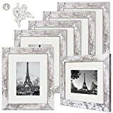 upsimples 8x10 Picture Frame Wood Pattern Distressed White with High Definition Glass,Display Pictures 5x7 with Mat or 8x10 Without Mat,Multi Photo Frames Collage for Wall or Tabletop Display,Set of 6 photo collage frame Feb, 2021