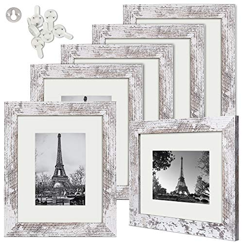 upsimples 8x10 Picture Frame Wood Pattern Distressed White with Real Glass,Display Pictures 5x7 with Mat or 8x10 Without Mat,Multi Photo Frames Collage for Wall or Tabletop Display,Set of 6