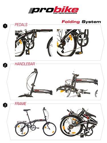 Multibrand PROBIKE Folding 20 Zoll Klapprad, Faltrad, Shimano 6 Gang, Herren-Fahrrad & Jungen-Fahrrad, geeignet ab 155 cm - 185 cm - 2