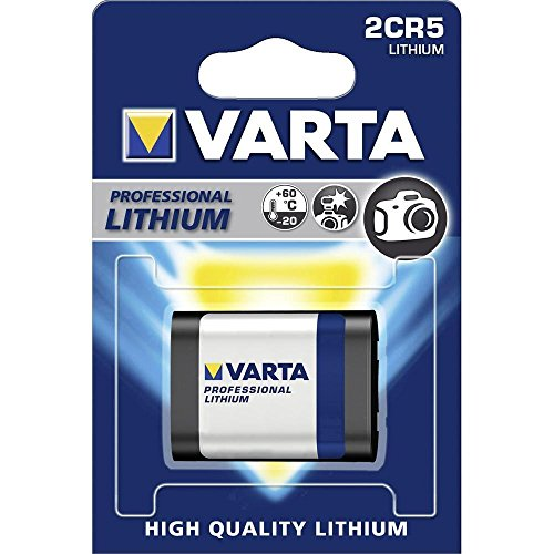 Varta 2 CR5 Batterie Lithium 1600 mAh 6 V – (Lithium, 1600 mAh, für DIGITAL KAMERA, 6 V, schwarz, silber, 45 mm) Einwegbatterie