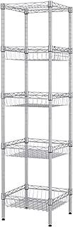 SINGAYE Storage Shelves, 5-Tier Wire Shelving Unit with Baskets Shelving Adjustable Storage Shelf, 13.4