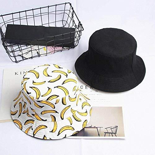 ZHYAODAI Moda De Verano Plátano Fruta Cuchara Impresión Hat Hat Viaje Exterior Doble Cara Tapa Sol Sombrero De Pescador De Hombres Y Mujeres Ocio Playa Blanca Hat