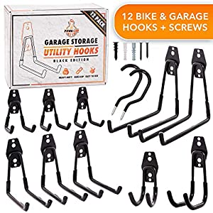 12 Piece Set Steel Garage Storage Hooks with Bike Hooks for Garage Organization – Utility Heavy Duty Hooks for Organizing Power Tools, Ladders, Bikes, Bulk Items – Tool Hangers for Wall – Powa-Lab