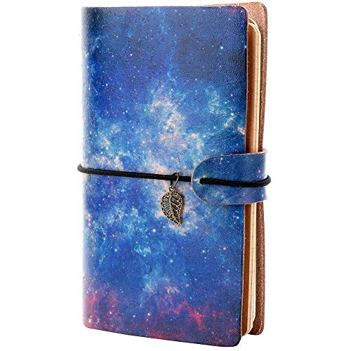 Leather Journal - PU Galaxy Leather Bound Vintage Paper Leather Notepad,Notebook for Men & Women Blank,Dotted,Lined Paper - Best Gift for Art Sketchbook,Travel Diary & Journal