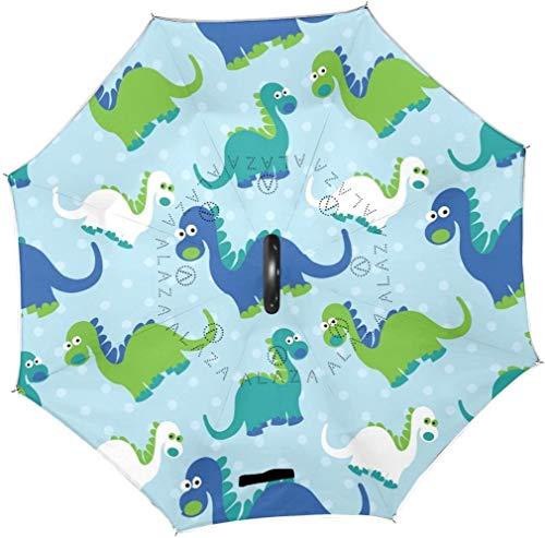 Onled Wende-Regenschirm, Dinosaurier, gepunktet, groß, doppellagig, für draußen, Regen, Sonne, Auto, wendbar