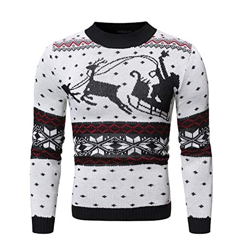 Heren Knitwears Casual Rendier Sweater Ouderen Mannen Knit Shirt bedrukken Voor Koud Weer (Color : White, Size : S)