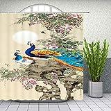 n Cortinas de Ducha de Pavo Real Azul Beaytiful Bird Pattern Baño Decoración Hogar Baño Bañera Impermeable Cortina de poliéster Set