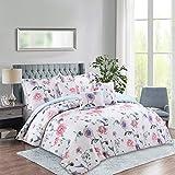 Cozy Line Home Fashions 7 Piece Comforter Set, Spring Blossom Floral Print Design, Bed Skirt, 2 Pillow Shams, 3 Decorative Pillow, Down Alternative Lightweight All Season Warmth (King Set)
