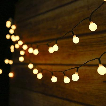 Guirnalda Luces Exterior Solar, 50LED 6.9m Cadena de Luces bolas led decorativas,IP44 Impermeable 8 Modos,Guirnaldas Luminosas para Exterior,Interior,Jardines Fiesta de Navidad (Blanco Cálido)