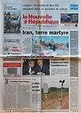 NOUVELLE REPUBLIQUE (LA) [No 15980] du 13/05/1997 - L'ORDINATEUR A BATTU L'HOMME PAR GERBAUD - TOURAINE / LA METEO SURVEILLE LES VIGNES - IRAN - TERRE MARTYRE - LES COMTES DE L'OM / LA DEFENSE VEUT METTRE L'ACCUSATION HORS JEU - LES SPORTS / RUGBY - LANGON / UN COUPLE ET LEUR FILLE PERISSENT DANS UN ACCIDENT DE VOITURE