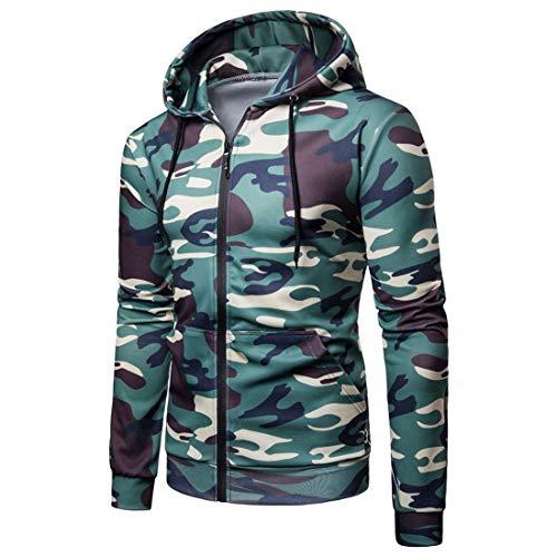 Lfly Herren Cardigan Hoodie Reißverschluss Langarm Casual Camouflage Hoody Herren Cardigan Sweatshirt Herbst/Winter Sportshirt Mode Sweatjacke Männer Tops M