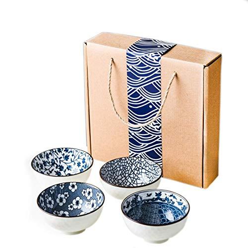 Juego de 4 cuencos de cerámica de porcelana con diseño japonés, para...