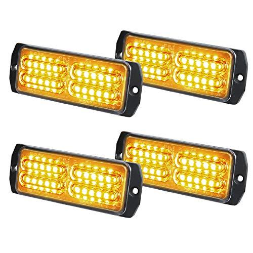 ASPL 4pcs Sync Feature 24-LED Surface Mount Flashing Strobe Lights for Truck Car Vehicle LED Mini Grille Light Head Emergency Beacon Hazard Warning lights (Amber)
