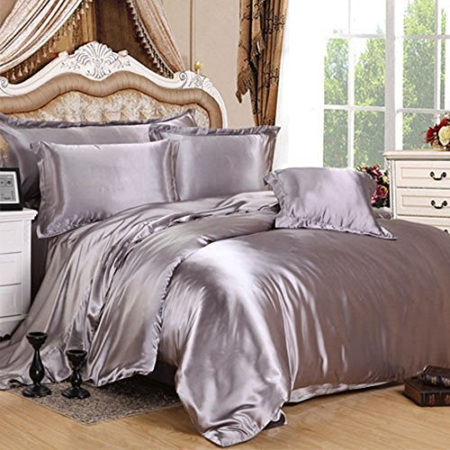7 Piece Satin Bedding Sets Silver King Bed Size Duvet Cover, Fitted Sheet, Cushion Cover, Pillow cases Set By Viceroybedding