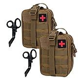 Krisvie 2Pcs Pochette EMT Médecine Tactique Sac étanche Molle de Premiers Secours, Trousse Kit de Premiers Soins Militaires pour Randonnée Camping Airsoft Avec Un Ciseaux Médical