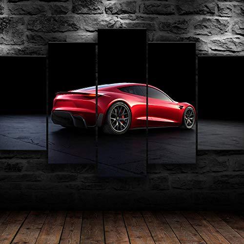 AWER 5 Piezas Imprimir Lienzo de Pintura Coche eléctrico Tesla Roadster Cuadro decoración Estilo Piasaje Pintura para Arte de Listo para Colgar en un Marco