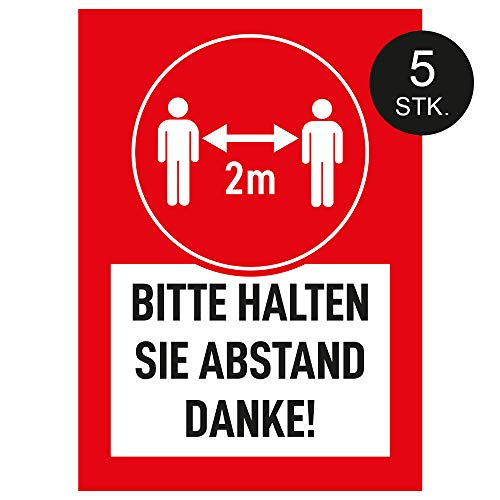 Bitte halten Sie Abstand, Poster, Plakat, Hinweis Schild, Abstand halten, 5 STK. (DIN A4)