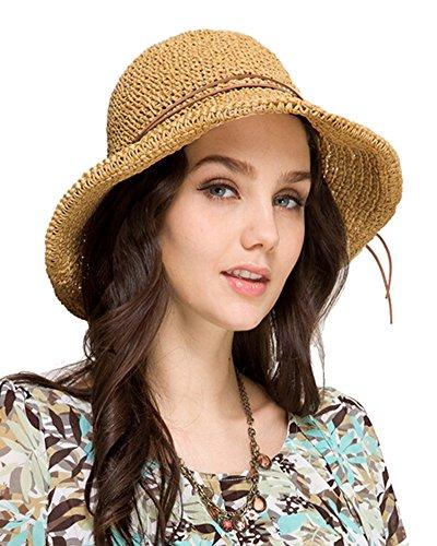 Urbancoco Urban CoCo faltbarer Damenstrohhut mit breiter Krempe, Sommer, Sonne, Strand Gr. Einheitsgröße, helles kaffebraun