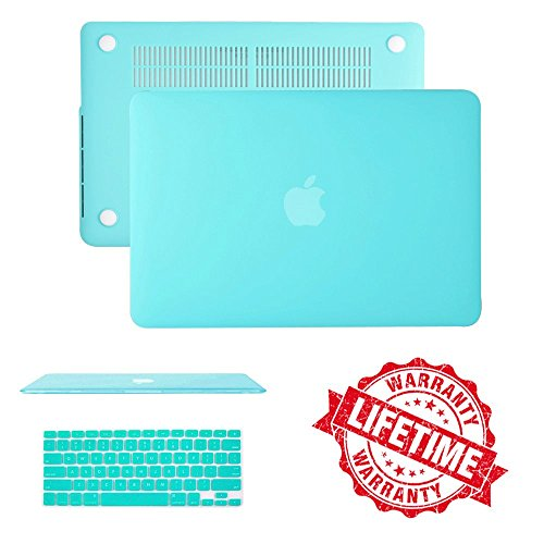 Macbook Air 11' Case Cover, IC ICLOVER Ultra Slim Light Weight Rubberized Matte Hard Plastic Protective Case Cover & Keyboard Cover for Macbook Air 11.6'(A1465 /A1370)- Turquoise Blue