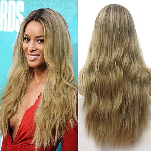 Natural Long Wavy Wig Ombre Ash Blonde Mixed #613 Wigs Light Brown purple Roots Middle Parting Body Wave Synthetic Replacement Wig 24inches Heat Resistant Full Wig (Honey Blonde)