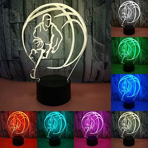 RUMOCOVO Cool 3D Baloncesto Deporte Hogar Decoración LED ilusión Luces De Noche Táctil Usb 7 Color Cambio Lámpara Dormitorio Noche Luz Mejor Niño Hombre Regalo