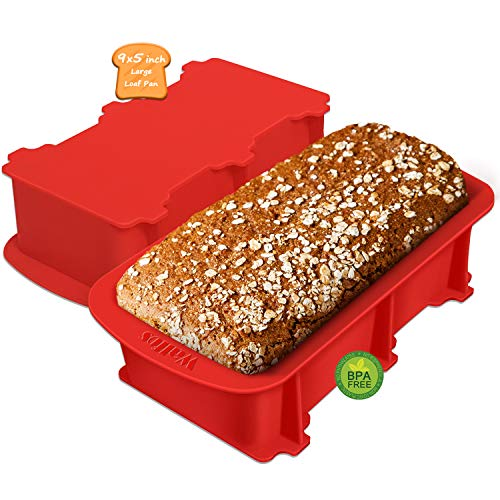 Walfos Silicone Loaf Pan Set - 2 Pieces Non-Stick Bread Baking Pan, 9 x 5 inch, Perfect for Bread, Cake, Meatloaf, BPA Free and Dishwasher Safe