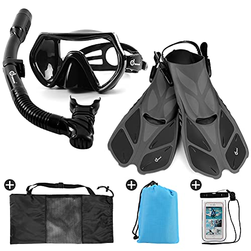 Odoland Snorkel Set 6-in-1 Snorkeling Packages with Diving Mask,...