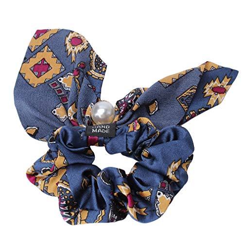 Kaned Fleur Perle Pendentif Anneau De Cheveux Arc Élasticité Corde De Cheveux Gros Intestin Anneau Corde De Cheveux, 5# Fleur Carrée Bleu Marine