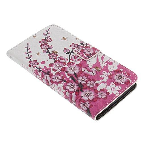 Tasche für Wiko Bloom Book Style Blumen pink Schutz Hülle Buch