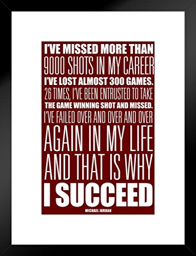 Poster Foundry Michael Jordan I Succeed Red White Motivational Matted Framed Wall Art Print 20x26 inch