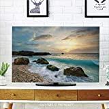 Ocean Indoor POP TV dust Cover,Cover Type 60 inch LCD TV 3D Printed with Seascape Composition of Nature Rocks Waves Cloudy Sky Rising Sun Beach Photo,Home Office Decorations Dustproof TV Cover