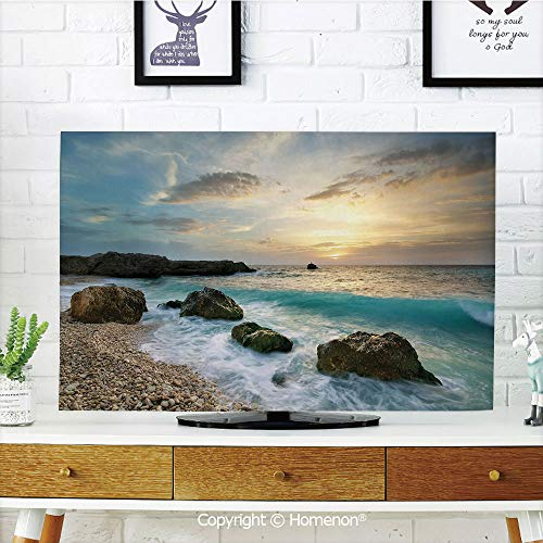 Ocean Indoor POP TV dust Cover,Cover Type 42 inch LCD TV 3D Printed with Seascape Composition of Nature Rocks Waves Cloudy Sky Rising Sun Beach Photo,Quality Polyester Dust Proof Protect Your TV