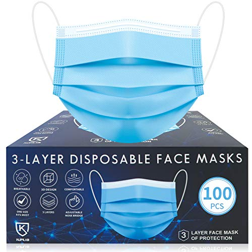Disposable Face Masks, 100 Pac Face Mask Disposable...