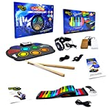 Rock And Roll It - The Original Rainbow Piano & CodeDrum. Roll Up Silicone Color Coded Piano & Drum With Play-By-Color Songbook. Portable & Flexible Electronic Music Instrument Pad