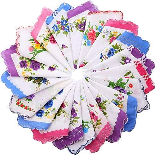 Boao 20 Pieces Women Soft Cotton Pocket Handkerchiefs Ladies Hankies Vintage Floral Print Handkerchiefs product image
