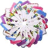 Boao 20 Pieces Women Soft Pocket Handkerchiefs Ladies Hankies Vintage Floral Print Handkerchiefs Medium