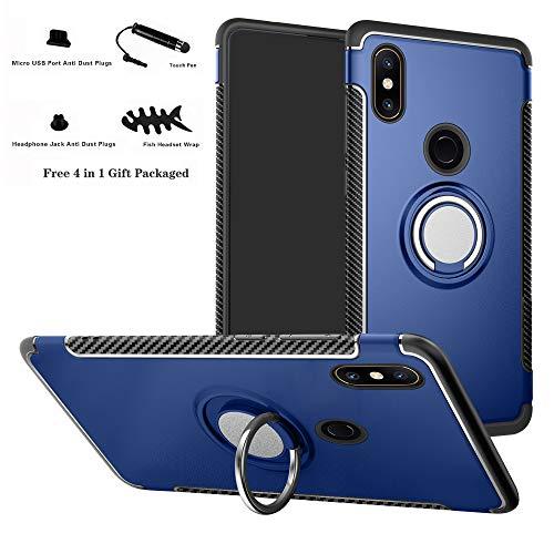 Labanema Xiaomi Mi Mix 2S Funda, 360 Rotating Ring Grip Stand Holder Capa TPU + PC Shockproof Anti-rasguños teléfono Caso protección Cáscara Cover para Xiaomi Mi Mix 2S - Azul