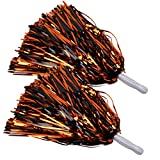 ICObuty Metallic Cheerleading Pom Poms Foil Fluffy 12 inch 2 Pack NO Sheddingfor Sport Squads Dance Hen Party Stage Performance Celebration (Orange/Black)