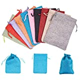 PH PandaHall 10 Color 5x7'' Burlap Bags with Drawstring, Linen Gift Sachets Gift Bags Jewelry Pouches Sacks Burlap Bags for Wedding Party Favor,Arts Crafts Projects, Presents