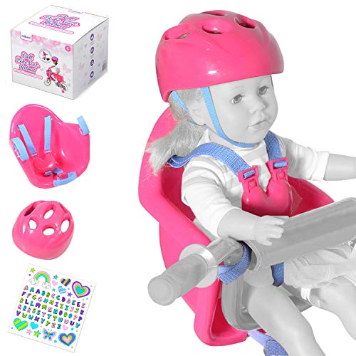 Milliard Doll Bike Seat and Helmet for 18 inch American Girl Dolls with Sticker Pack (Universal Fit on Bikes and Scooters)