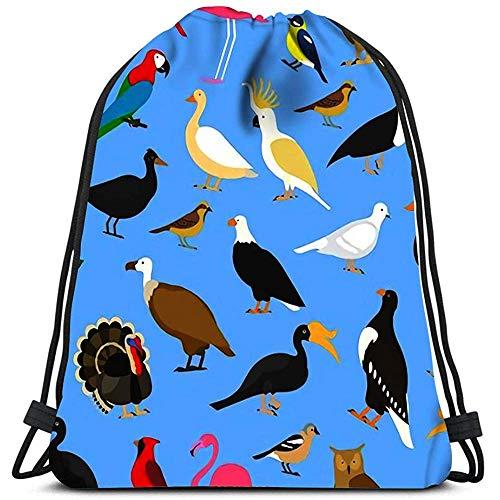 Dingjiakemao Zak Cinch Tassen Grote Tropische Binnenlandse En Andere Vogels Kardinaal Flamingo Uilen Arenden Kale Zee Papegaai Gans Rav Sport Gym Bag