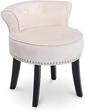 Vanity Stool Chair with Black Wood Legs Bedroom Dressing Chair Makeup Dressing Stool