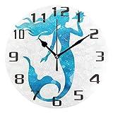 KUWT Ocean Sea Animal Mermaid Wall Clock Silent Non-Ticking 9.5 Inch Round Clock Acrylic Art Painting Home Office School Decor