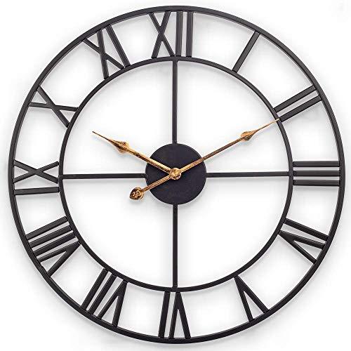Reloj de pared grande de metal, 60 cm, estilo europeo, con números romanos, silencioso, sin tic-tac, funciona con pilas, decoración para loft, dormitorio, salón, cocina (metal), color negro