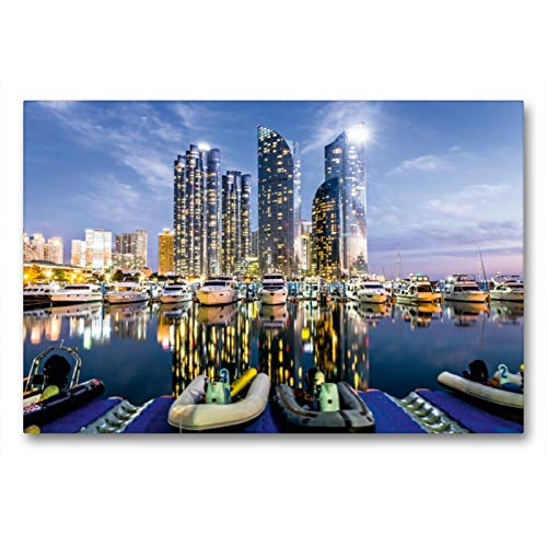 Calvendo Premium Lienzo 90 cm x 60 cm horizontal, Skyline y Yachthafen de la ciudad de Busan brillará en la luz de noche imagen de pared, imagen en bastidor. Busan, Corea del Sur, lugares asiáticos