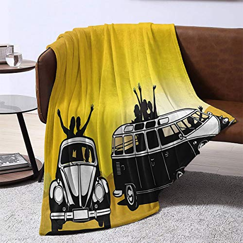Plush Weave Blanket ,1960s Decorations Collection Traveling in The Sixties Hippy Car Transport Vehicle Hitchhiking Daring Camping Freedom Image,Gifts for Family 80'x60'