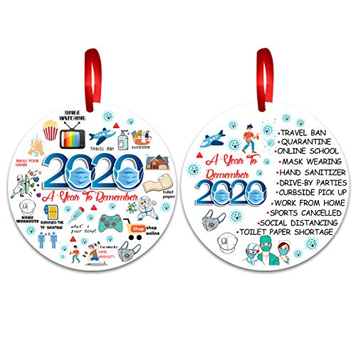 2pcs Chrismas Ornament 2020 Quarantine - Christmas Decoration Round Ornaments Gift Resin Christmas Tree Hanging Ornament Funny Event Ornament Ornament to Remember This Year, Two-Side Printed