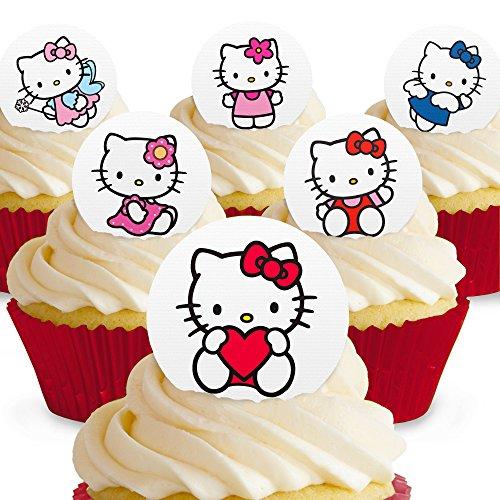 12 x Vorgeschnittene und Essbare Hello Kitty Kuchen Topper (Tortenaufleger, Bedruckte Oblaten, Oblatenaufleger)